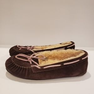 UGG brown moccassin with pink lace size 10